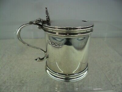 Georgian Style Solid Silver Mustard Pot, Thomas Bradbury, Sheffield 1919