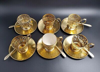 Tiffany & Co/Lenox Sterling Silver Demitasse Cups, Saucers & Spoons #18270 Gold