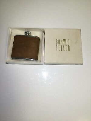 Very Rare Vintage English S/S BONWIT TELLER Hunters Flask 2 OZ 3""