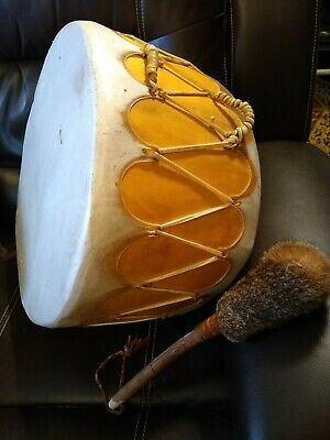 **Awesome Large Vintage  Native American Rawhide Pow Wow Drum Double Sided! **