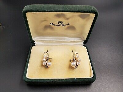 Vintage Mikimoto 4-Pearl Sterling Silver Pierced Earrings Original Box, Signed