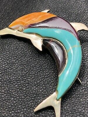 RARE Signed Sterling Silver Turquoise Coral Inlay Dolphin Vtg Brooch Pin Pendant