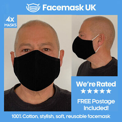 Face Mouth Mask X4 - Protective Three Layer Tech. Waterproof 100% Cotton BLACK
