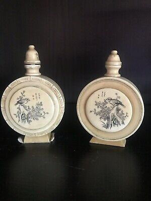 Two 1920s Chinese Bovine Hand Carved Snuff Bottles