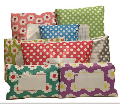 MIXED Polka Dot & Daisy Floral Mailing Bags Mixture of 2 Designs & 5 Colours