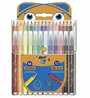BIC Kids Colouring Set- 18 Pencils/12 Felt Assorted - Pack of 30