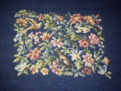 Vintage Antique Finished Needlepoint Canvas Floral Fauna Petit Point Chair Cover