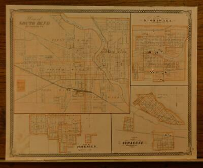 Antique South Bend Mishawaka Indiana Map Printed 1876 14x17 Inch