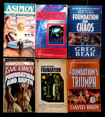 Isaac Asimov Foundation lot  6, Foundation's Edge, Prelude & 4 more in SF series