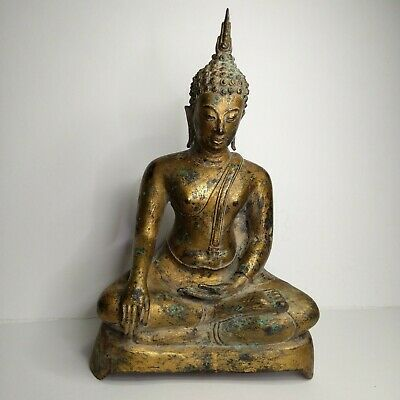Antique Thai bronze-plated  Buddha Sukhanthai, 19th-20th century.
