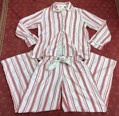 Victorias Secret Candy Striped Cotton Flannel Silk Trim Pajamas 2pc Set sz S
