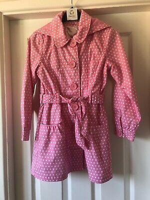 NEXT Gorgeous Pink Polka Dot Coat Age 9-10 Years Trench Coat Jacket Polka Dot