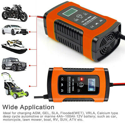 Car 12V LCD Display Battery Charger Motorcycle Automobile Full Automatic Smart