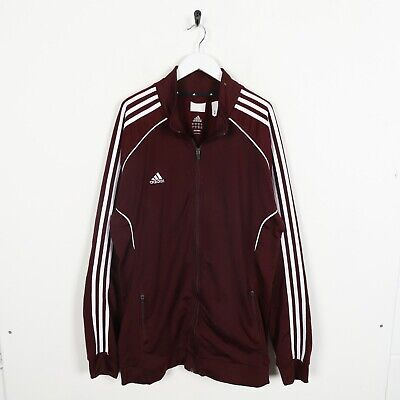 Vintage ADIDAS Small Logo Zip Up Tracksuit Top Burgundy Red | XL