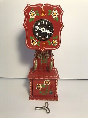 Reuge Wooden Red Musical Miniature Grandfather Clock With J. Engstler Movement