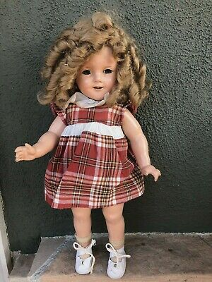 "18"" Ideal Composition Shirley Temple Doll no crazing 1930's"