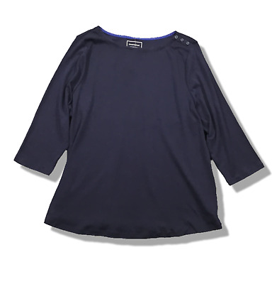 New! CHARTER CLUB Navy Blue Cotton Knit Top Boat Neck 3/4 Sleeve Button Detail