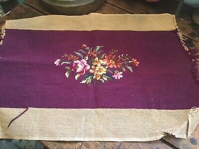 Antique Vintage Wool Needlepoint For Pillow Stool Chair Cover Plum with Flowers