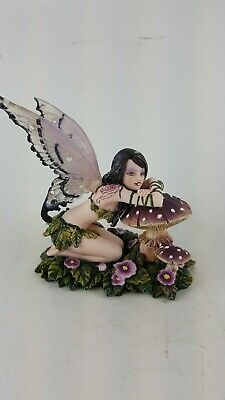 Fairy Statue Figurine High End Poly Resin Hand Painted Leaning On Mushroom