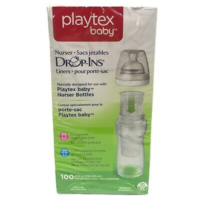 Playtex Baby Nurser Drop-Ins Bottle Liners Box of 100 Count Fits 8-10 oz