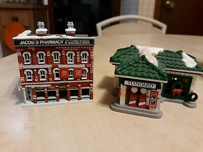 Pair 1991 Coca-Cola Gas Station and Pharmacy Christmas Ornaments