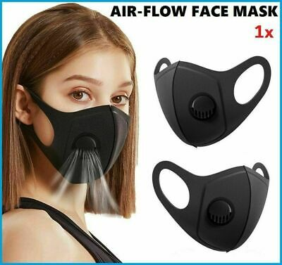 Black Sponge Face Cover Protection With Filter Valve Washable And Reusable Uk