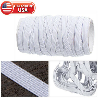 Elastic Flat Band For Mask Making White Width 1/4 Inches (6 mm) 10 Yards