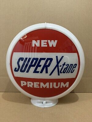 Super X-tane Gas Pump Globe Light Vintage Glass Lens Service Station Garage