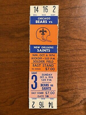 1974 Chicago Bears vs New Orleans Saints Complete Unused Ticket Archie Manning