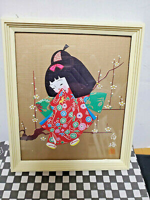 Japanese Oshie Geisha Young Girl Doll Kimono Cherry Bloom Framed Art 6''x5''