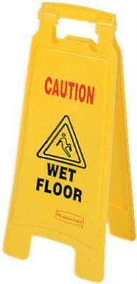 """25"""" Yellow """"Caution Wet Floor"""" 2-Sided Floor Sign Folds Flat Only One"""
