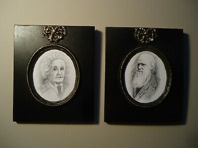 Pair of  prints of  drawings  of  Albert Einstein  & Charles Darwin