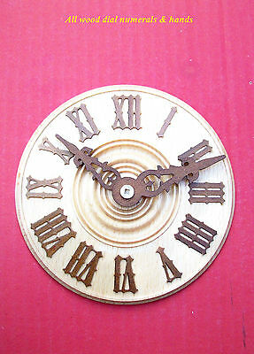 Black Forest made all wood Cuckoo clock dials with wood hands. ( Natural )...