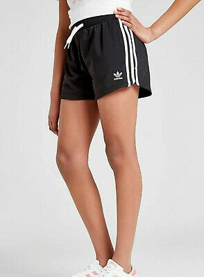 Girls Adidas Originals 3 Stripes Shorts Black White Age 11-12 New Limited Qty