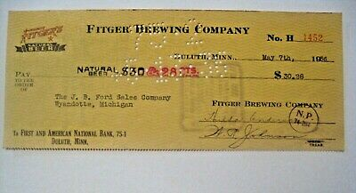 RARE VINTAGE 1936 FITGER'S ADVERTISING BEER CHECK to FORD WYANDOTTE MICHIGAN