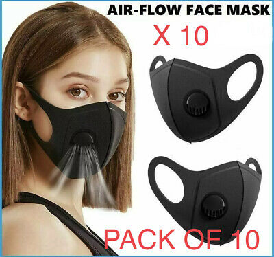 Black Face Mask With Filter Air Valve Washable Reusable Breathable 10X Uk Seller