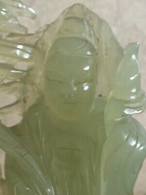 Antique Chinese Green Jade Carved Figure Warrior high Quality Stone