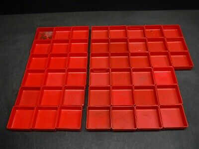"Used Lot of 45 Lista PB-2/X285 3"" x 3"" x 1 Plastic Drawer Bins Cups 9F"