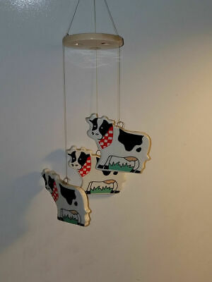 Ceramic Black and White Holstein Cow Wind Chime