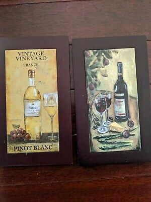 "2 Wine Decorative Wall Wood Frame Ceramic Tile Trivets 10"" x 6"""