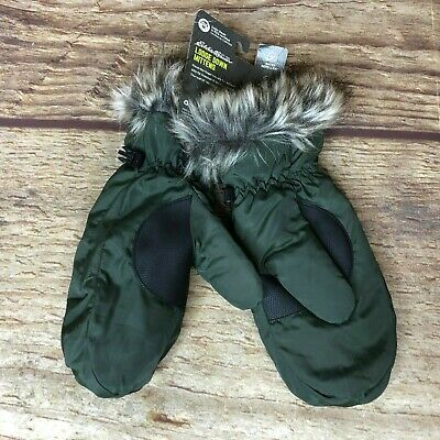 Eddie Bauer Womens Size Large Lodge Down Fur Mittens Green Taupe NEW