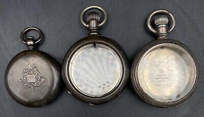 Lot of 3 (2)18s & (1)14s Antique Coin Silver Pocket Movement Watch Cases 273.3g