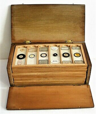 ANTIQUE  Cased  MICROSCOPE SLIDE COLLECTION,  72 Mounts