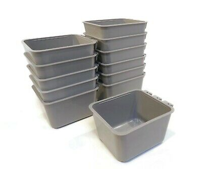 (Pack of 12) Gray Cage Cups hold 1 Pint / 16 fl oz to Hang Feed & Water for Pets