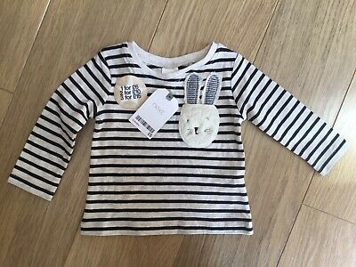 BNWT Next Baby Girl Striped Bunny Rabbit Long Sleeved Top 💛 Age 3-6 Months New
