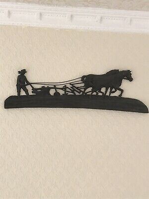 Vintage  Antique Cast Iron Plaque Horse Equestrian Country Farming Plough Wall