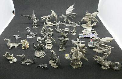 Lot of 25 Pewter Miniature Fantasy Dragons Figures W/ Crystal Orbs Spooniques