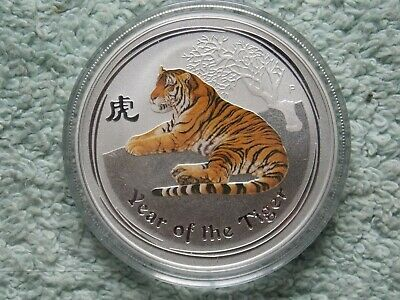 2010 Australian Silver Tiger Lunar Series II Colorized BU 1 OZ