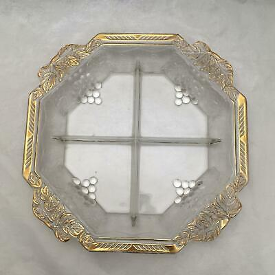 Beautiful Large Antique Divided Serving Plate w Embossed Grapes Gold Embellished
