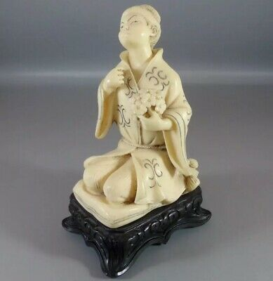 Vintage Chinese Hand Carved Resin Woman Figure On Wooden Base W/ Stamp Decor Old